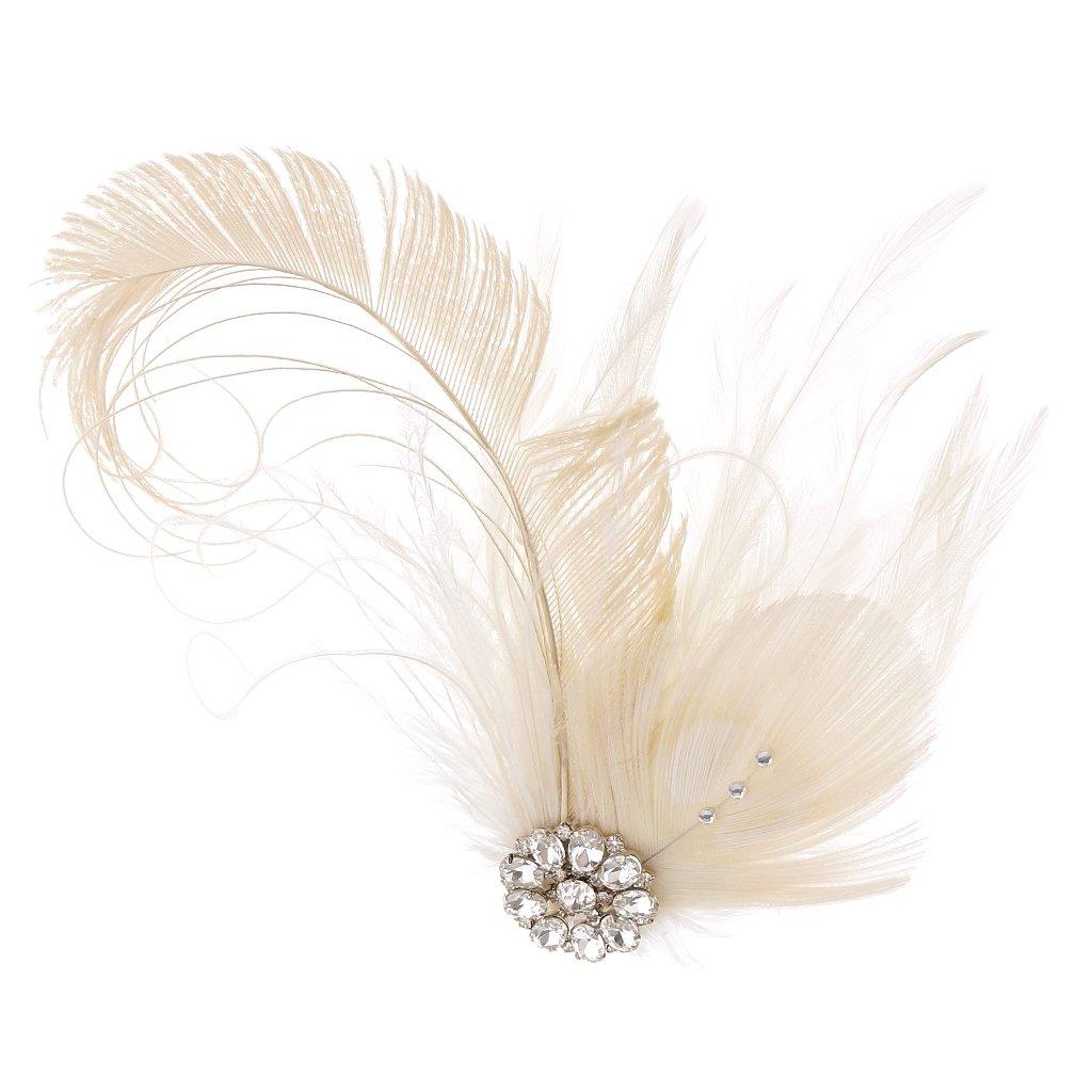 Gazechimp Barette Faux Plume Blanc Pince À Cheveux 1920s Robe Déguisement Vêtement Pour Femme