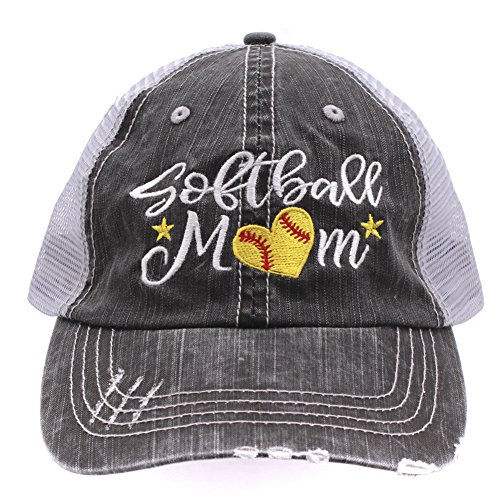 Softball #Momlife Mom Love Heart Women Embroidered Trucker Style Cap Hat (Embroidered Softball Cap)