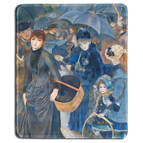 dealzEpic - Art Mousepad - Natural Rubber Mouse Pad with Famous Fine Art Painting of The Umbrellas by Pierre-Auguste Renoir - Stitched Edges - 9.5x7.9 inches
