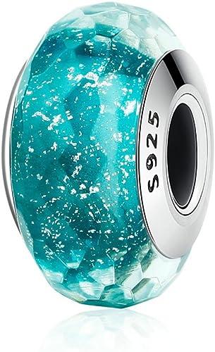 Tiny Beaded Angel Charm Pendant Blue Green Murano Foil Glass Bead