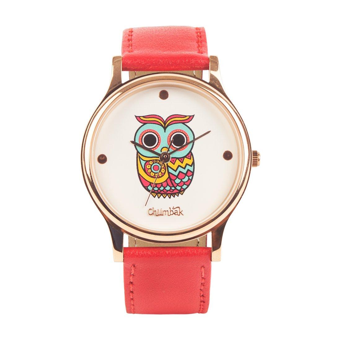 Chumbak Classic Owl Red Wrist Watch