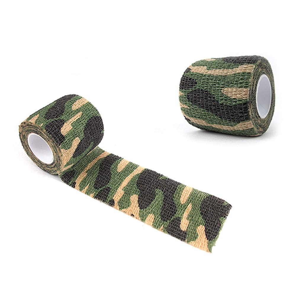 Glumes Camo Duct Polyethylene Film with Cloth Carrier Backing Premium Camouflage Tape, 4.9 yds Length x 2'' Width, Real Tree Green Pattern