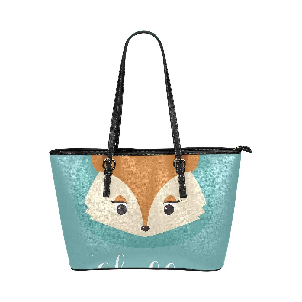 Tricky Cunning Cute Fox With Words Large Soft Leather Portable Top Handle Hand Totes Bags Causal Handbags With Zipper Shoulder Shopping Purse Luggage Organizer For Lady Girls Womens Work