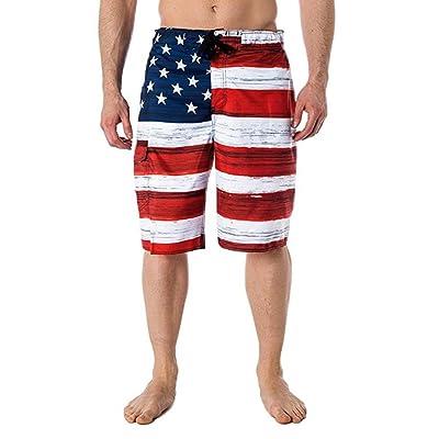 Ounice Men Shorts Flag Print Shorts Independance Day Shorts Pants