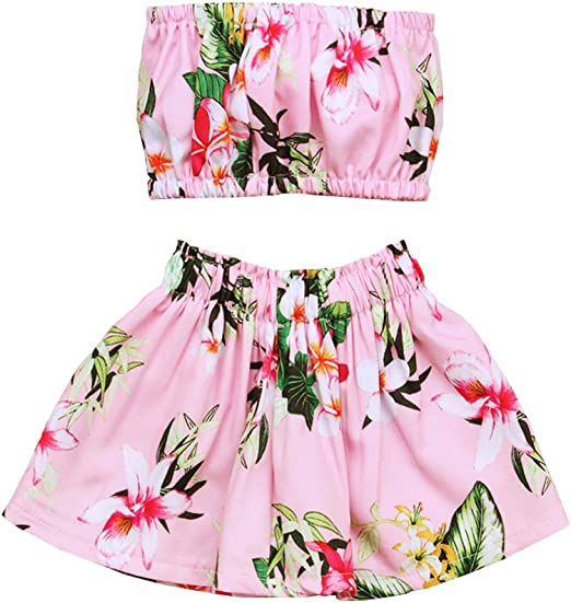 Baby Girl Kids Straps Floral Shirt And Pink Short Pants Sundress Clothing 1-6Y