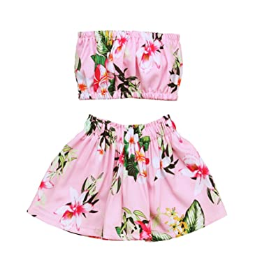 df0b066e975b0 OUTGLE Baby Girl Toddler Crop Top + Floral Skirt Clothing Set Summer Beach  Outfits