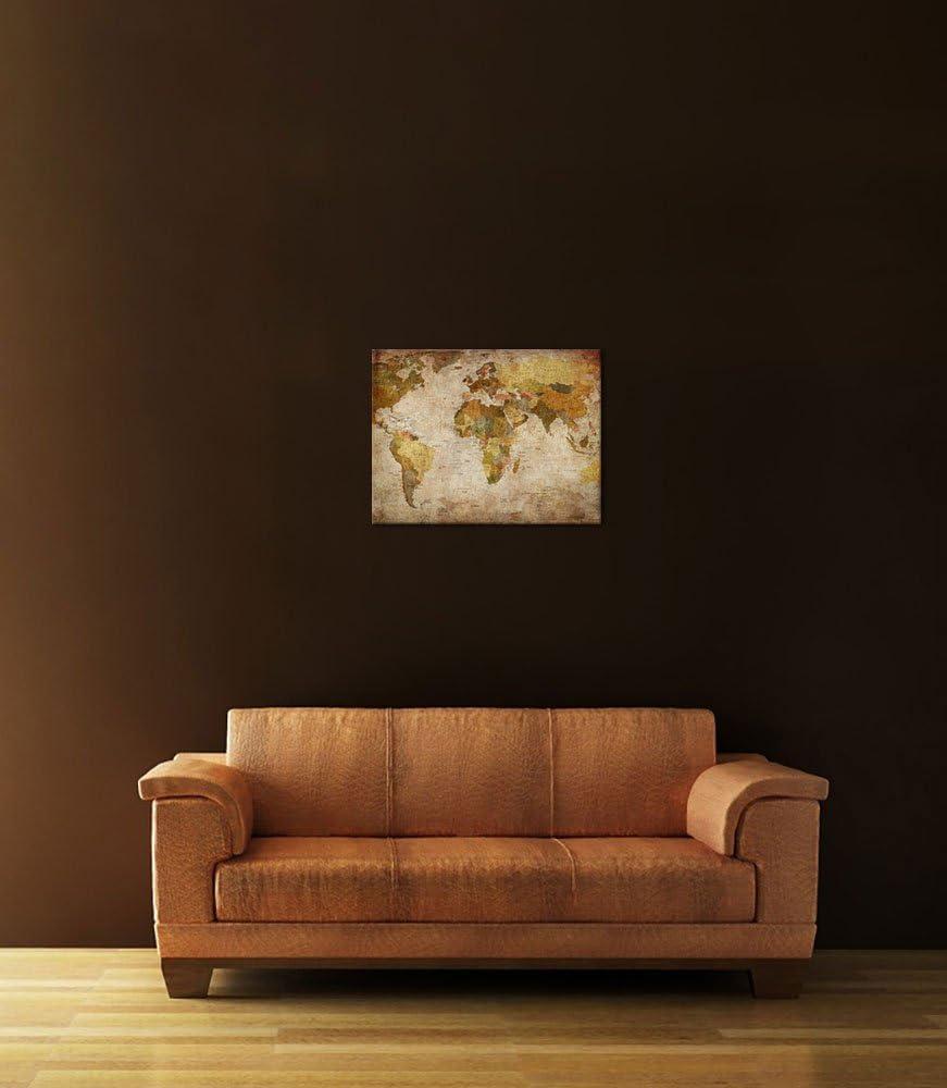 Bilderdepot24 Cuadros en Lienzo Retro Mapa del Mundo - 40 x 30 cm - Listo tensa, Directamente Desde el Fabricante: Amazon.es: Hogar