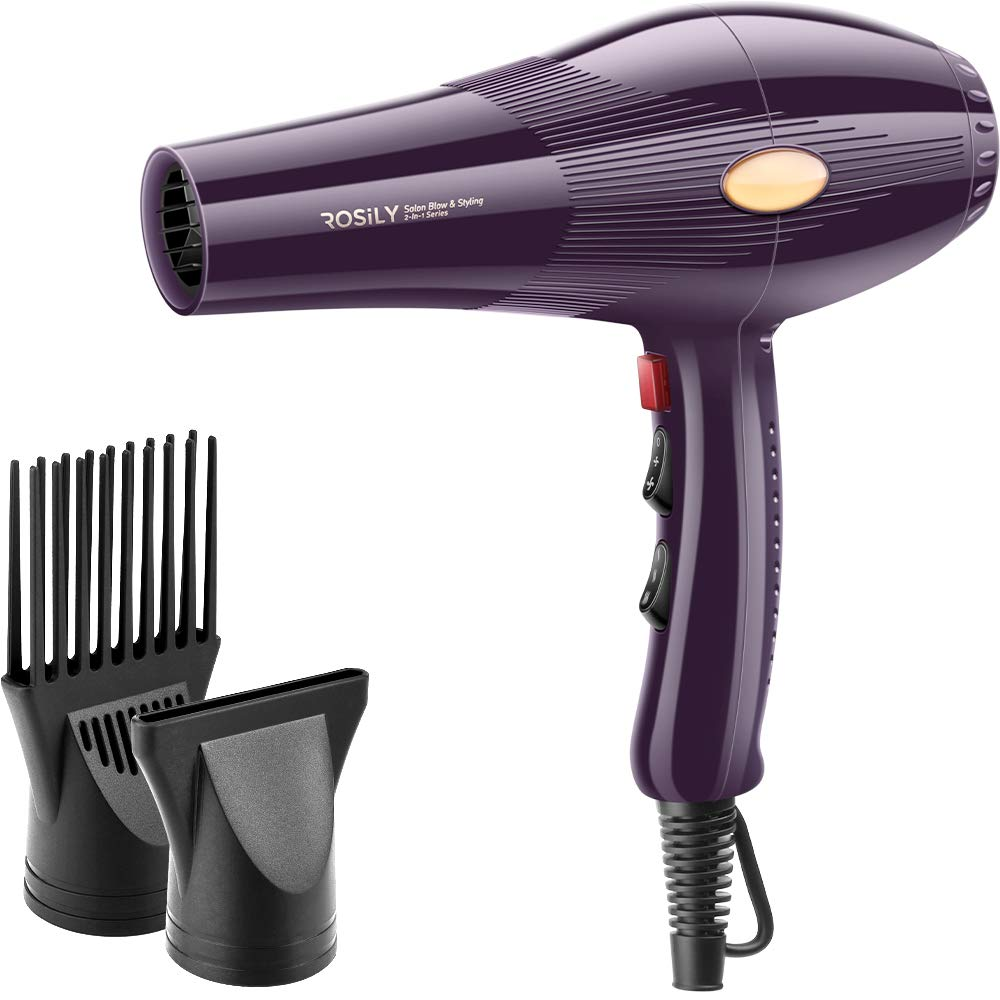 2200W Salon Hair Dryer, Professional 2 in 1 Blow Styling Blowdryer, Low Noise Fast Drying, With Concentrator, Comb Nozzle, 4 Speed 6 Heat Settings, 20 Year Lifespan