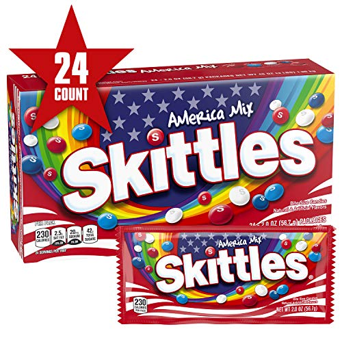 SKITTLES America Mix Red, White & Blue Patriotic Candy, 2-Ounce Full Size Bag (Pack of -