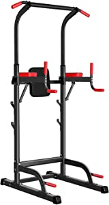 Power Tower Dip Station, Pull Up Bar Station & Multi-Function Gym Equipment For Home Strength Training Adujustable Height Up to 85.5