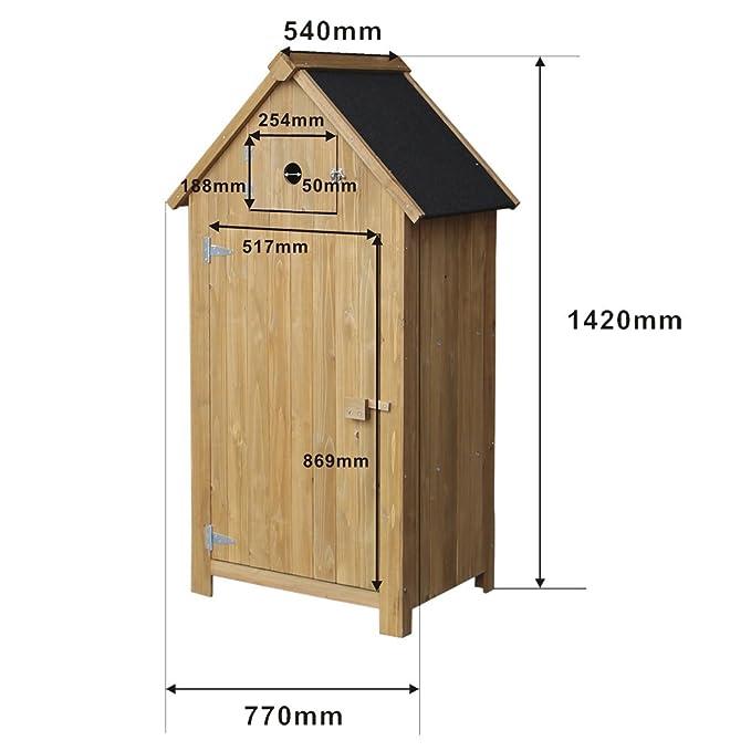 Casa de jardín estrecha de madera de abeto, techo de alquitrán, 770x540x1420mm: Amazon.es: Hogar