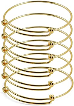 ZX Jewelry 6pcs Childrens Expandable Blank Bangle Adjustable Wire Bracelet for Jewelry Making 2inch