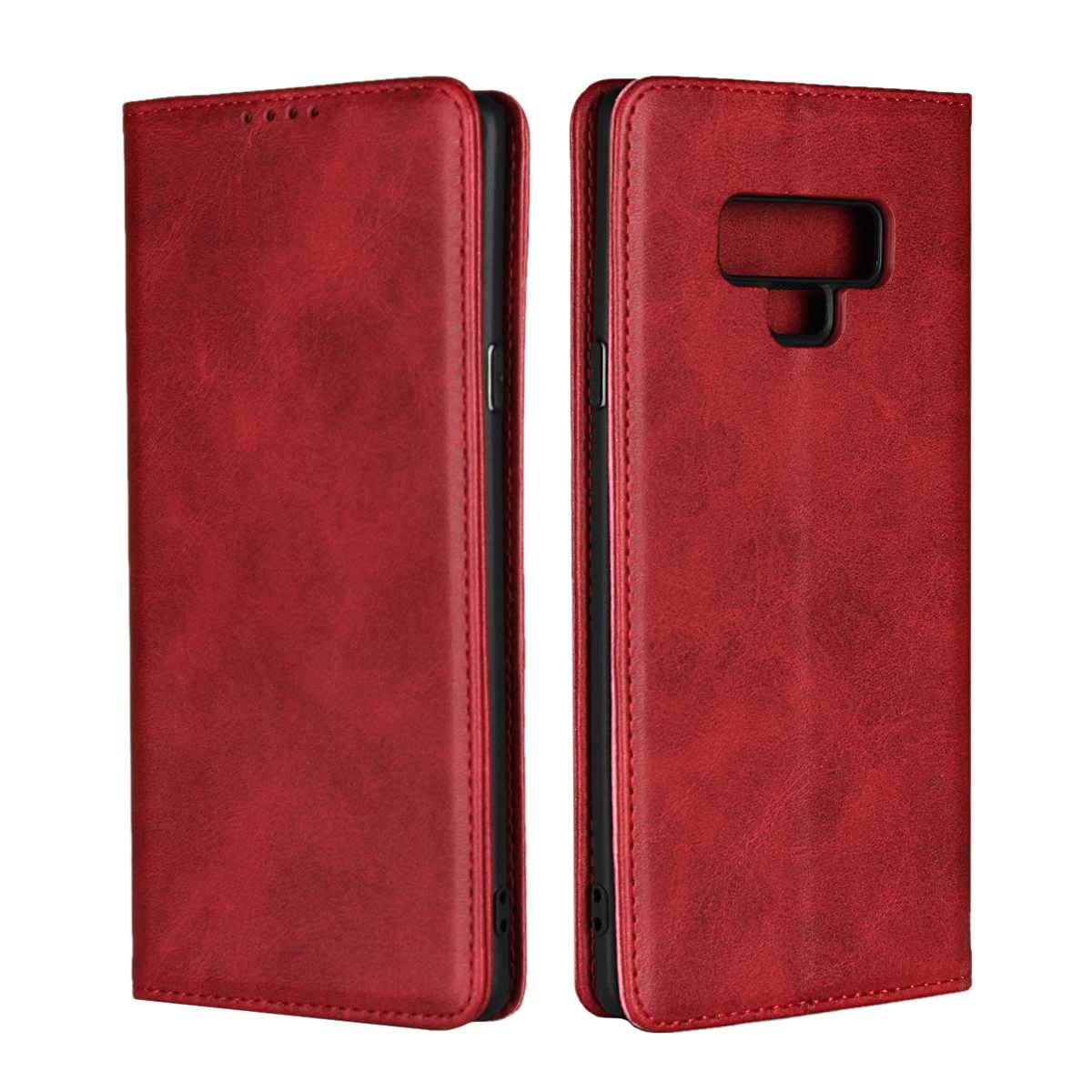 DENDICO Case for Samsung Galaxy S8, Classic Leather Wallet Case Flip Notebook Style Cover with Magnetic Closure, Card Holders, Stand Feature - Red FFDDC22S8-0404