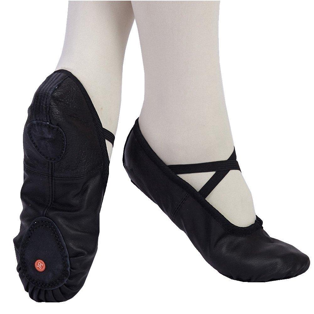 Adult Kids Ballet Gym Genuine Leather Shoes Slippers Pig Skin Black