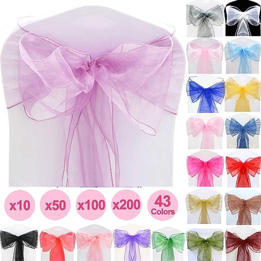 Pack de 100 Lazos cubresillas Decorativos, Color Violeta ...