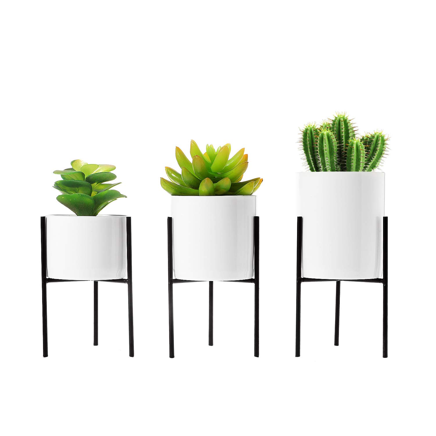 T4U Small Ceramic Plant Pot with Metal Stand and Drainage Hole Window Boxes Succulent Cactus Flower Pot White with Iron Stand Holder for Desktop and Home Decor, Set of 3 Excluding Plant