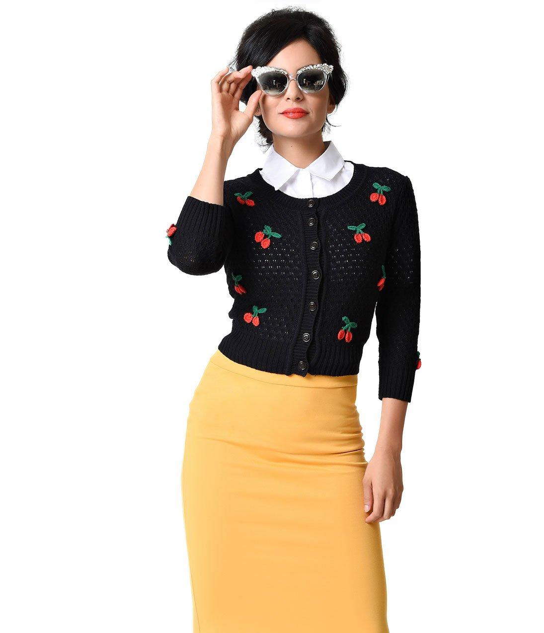 Vintage Style Black & Red Cherry Three-Quarter Sleeve Knit Crop Cardigan