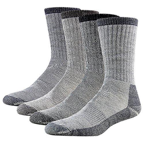 Merino Wool Crew Socks, RTZAT Unisex Premium Wool Blend Warm Comfort Thick Winter Mid Length Socks Great Family Christmas Gifts, 4 Pairs Medium Brown