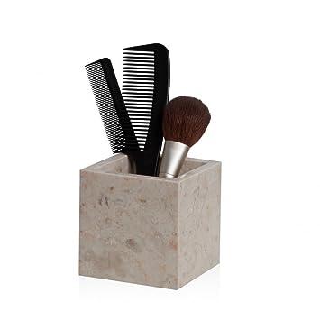 Wohnfreuden Marmor Dose Eckig 10x10cm Creme Bad Dekoration Gefäß  Aufbewahrung Box Dose Behälter Blumentopf