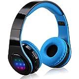 EXCELVAN Casque LED Bluetooth sans Fil Réglables avec Son Stéréo 3.5mm pour iPhone Android Smartphones PC Laptop Mp3/mp4 Tablette (Bleu)
