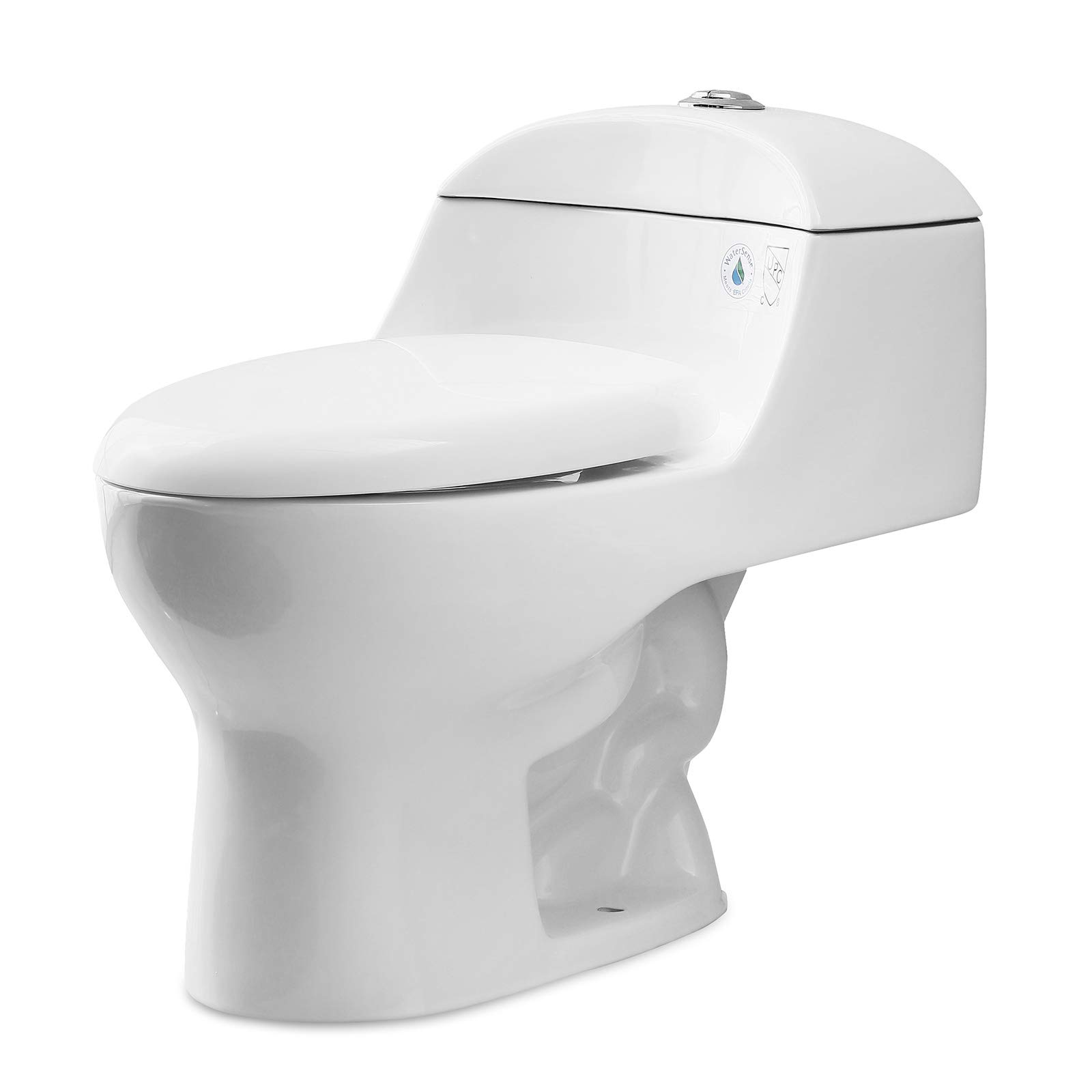 Mecor Elongated One-Piece Toilet Siphon Dual Flushing,Soft Closing Quick Release Seat 0.8/1.28Gpf,Cotton White. (27.5''X 16.1''X 24.4'') by mecor