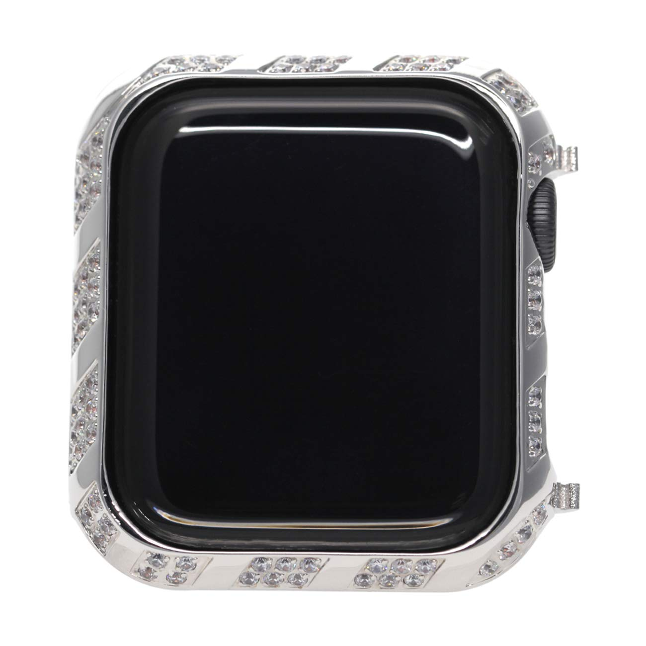 Callancity Sparkle Diamond Watch Face Bezel Plated Color Protective Frame Compatible with Apple Watch Series 4 Case Cover 2019 White Crystals for Men/Women by Callancity