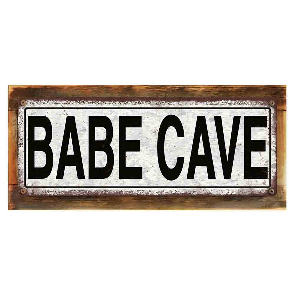 """Framed and Sun Protected Babe Cave Metal Sign, Framed and Sun Protected 6""""x16'', Vintage, Retro, Wall Décor"""