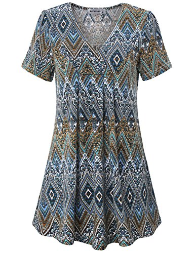 MOQIVGI Ethnic Tops, Female Vintage Geometric Print Shirt Casual Loose Pintuck Flared Short Sleeve V Neck Blouse Name Brand Simple Basic Gradient Tunics for Women Multicoloured Blue - Dress Short Pintuck Sleeve