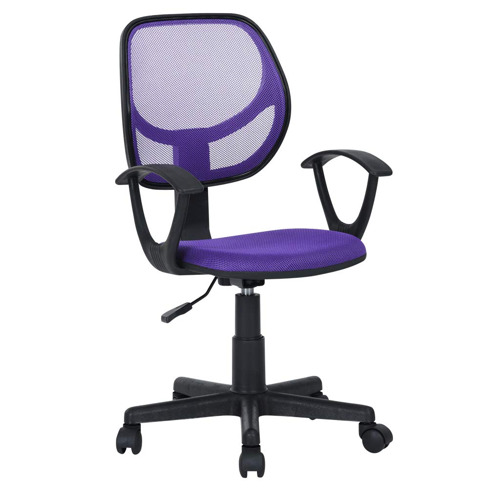 GreenForest Kid's Desk Chair with Armrest Mid Back Support Office Chair for Girl's and Teens, Purple