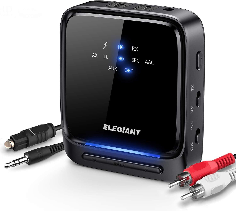 ELEGIANT Transmisor Bluetooth 5.0, Receptor Inalámbrico 2 en 1 Audio HD de Baja Latencia con Toslink Óptico/SPDIF para TV Altavoz Estéreo Portátil Auriculares Cascos