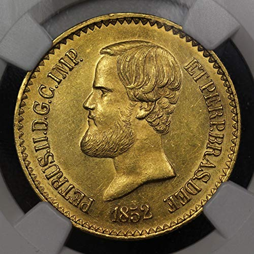 1852 Brazil 20,000 Reis Gold Coin, NGC MS-62 Mint State Condition, Emperor Pedro -
