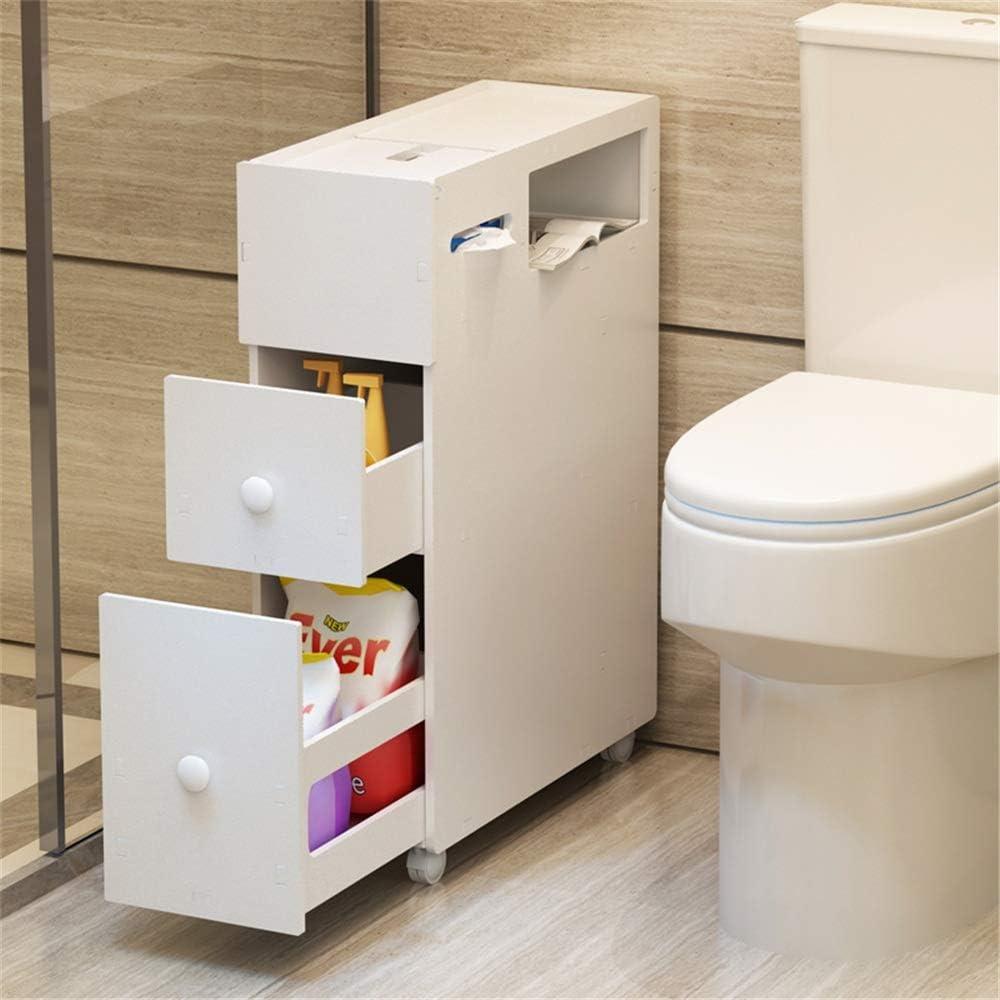 コートフック ホワイト浴室ストレージキャビネット無料立ち収納棚キャビネットスペースセーバー主催 (Color : White, Size : 21 x 53 x 75cm)
