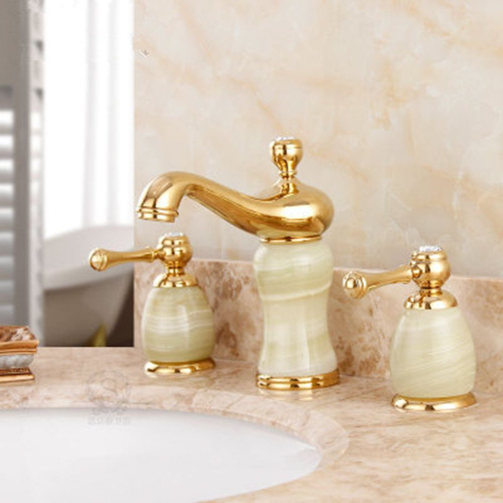 F LHbox Basin Mixer Tap Bathroom Sink Faucet All three holes in the european copper hot and cold water faucet marble basin E