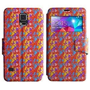 AADes Scratchproof PU Leather Flip Stand Case Samsung Galaxy S5 V SM-G900 ( Colorful Skull )