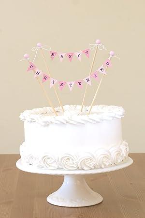 Handmade Personalised Cake Topper Birthday Christening Bunting Flowers.