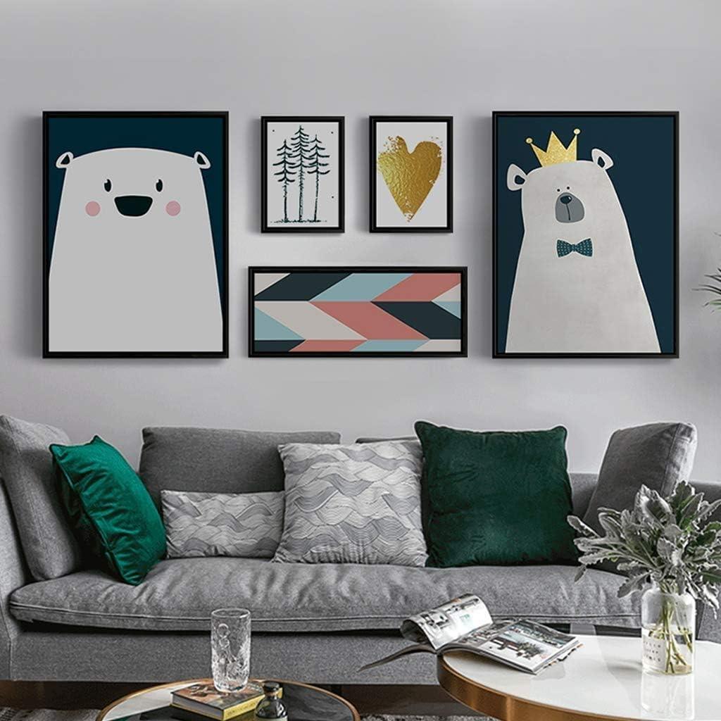 SUON シンプルでモダン 背景の壁 フォトフレームセット 壁掛け フォトウォール ウォールフレームセット コラージュセット5個 から選択する2つのスタイル (Color : B)