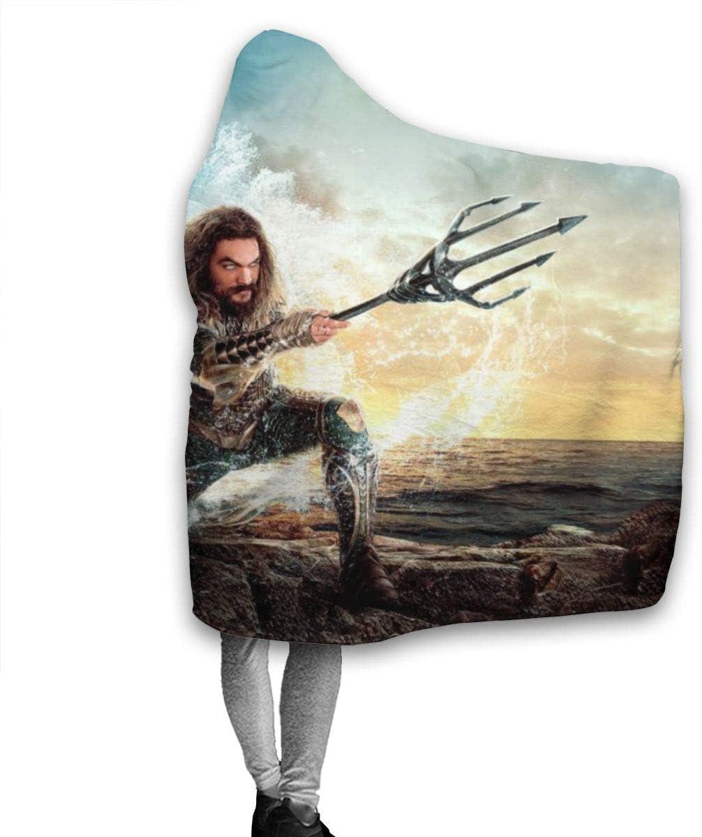 Adulti Anti-Pilling Morbido fuzzy Lancio di lusso con cappuccio per divano letto Viaggio Quattro stagioni Coperte-60 x50 Aquaman Coperta con cappuccio in flanella per bambini