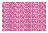 Ambesonne Giraffe Pet Mat for Food and Water, Abstract Tropical Jungle Animal Skin Pattern Pink Camouflage Style Feminine Design, Rectangle Non-Slip Rubber Mat for Dogs and Cats, Pink Cream