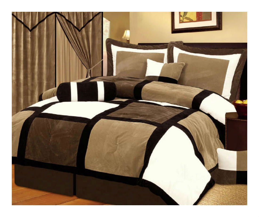 White + Brown and Black Suede Patchwork Comforter Set/Bed-In-A-Bag (Queen Size)