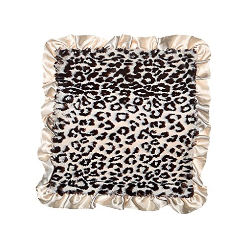 Max Daniel Gray Jaguar Front with Gray Satin Back and Ruffle Security Blanket - Blanket Satin Ruffle