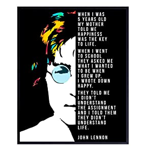 John Lennon Quote Wall Decor Print - Funny Inspirational 8x10 Home Art for Bedroom, Living Room, Office, Apartment - Unique Gift for Beatles, 60s, 70s Music Fans