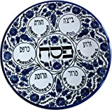 Blue Flowers - PASSOVER SEDER Plate - Jewish Dish Armenian Ceramic Hebrew Israel Judaica Gift