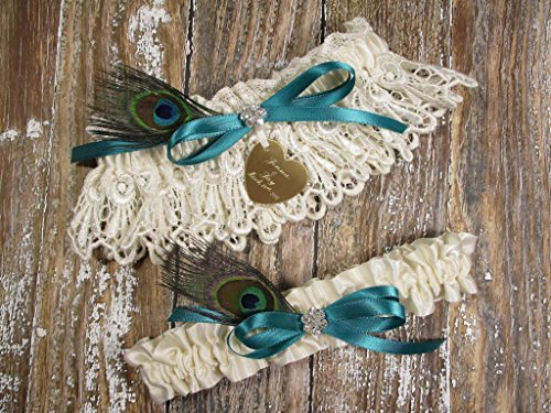 Peacock Feather Wedding Garter Set in Ivory Lace with Custom Color Bow and Personalized Engraving