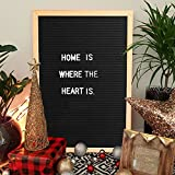 Innocheer 12 x 16 inch Black Felt Letter Boards with 300 Letters, Changeable Letter Message Board Oak Wood Frame with Mounting Hook, Stand and Letter Organizer