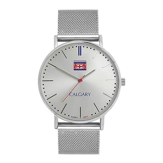 Relojes Calgary Silver Mountain. Reloj Vintage para Mujer, Correa en Tono Metalizado de Acero Inoxidable: Amazon.es: Relojes