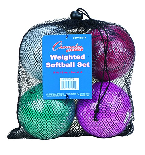 Champion Sports Weighted Training Softball Set With Mesh Carrying Case by Champion Sports
