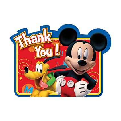 Amazon Com Mickey Mouse Thank You Cards 8 Pack Office Products
