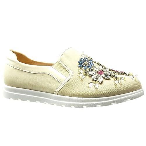 Angkorly Zapatillas Moda Deportivos Mocasines Slip-On Suela de Zapatillas Mujer Flores Joyas Fantasía Tacón Plano 0 cm: Amazon.es: Zapatos y complementos
