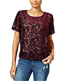 Lucky Brand Women's Burnout Velvet-Pattern Top, Purple (Medium)