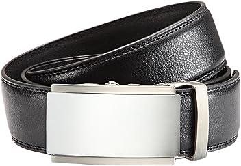Herren Anzug Gürtel mit Automatikschließe 3,5 cm Breite - Individuell kürzbar - Stufenlos verstellbar (Bundweite: 125cm = Gesamtlänge: 140cm, Braun)